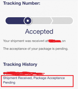 Shipment received, package acceptance pending